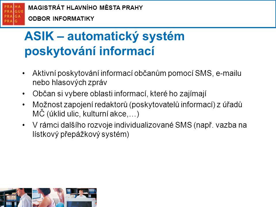 MAGISTRÁT HLAVNÍHO MĚSTA PRAHY ODBOR INFORMATIKY ASIK – automatický systém poskytování informací Aktivní poskytování informací občanům pomocí SMS, e-m