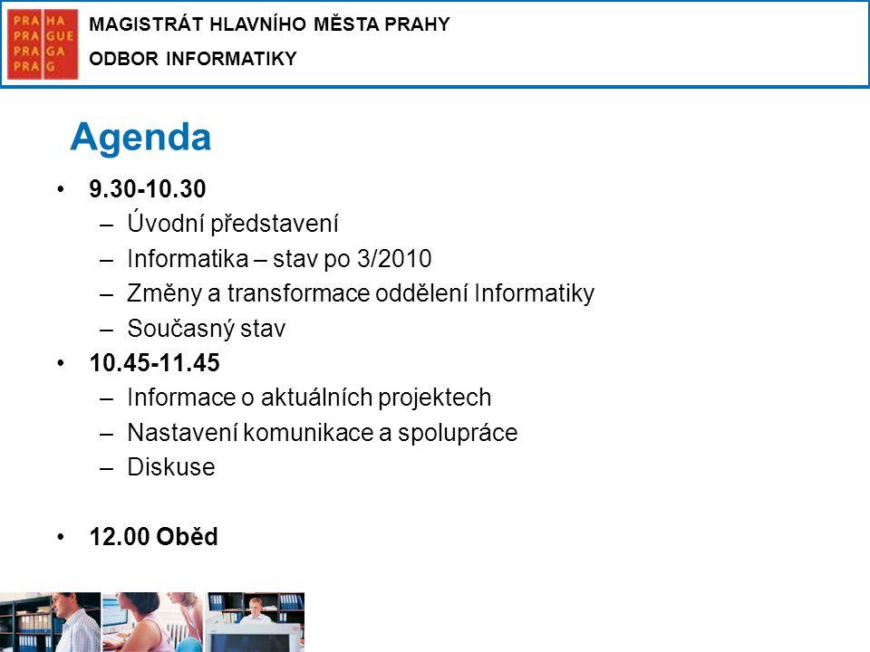 MAGISTRÁT HLAVNÍHO MĚSTA PRAHY ODBOR INFORMATIKY Agenda 9.30-10.30 –Úvodní představení –Informatika – stav po 3/2010 –Změny a transformace oddělení In