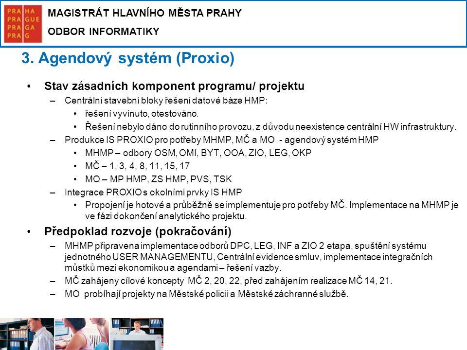 MAGISTRÁT HLAVNÍHO MĚSTA PRAHY ODBOR INFORMATIKY 3. Agendový systém (Proxio) Stav zásadních komponent programu/ projektu –Centrální stavební bloky řeš