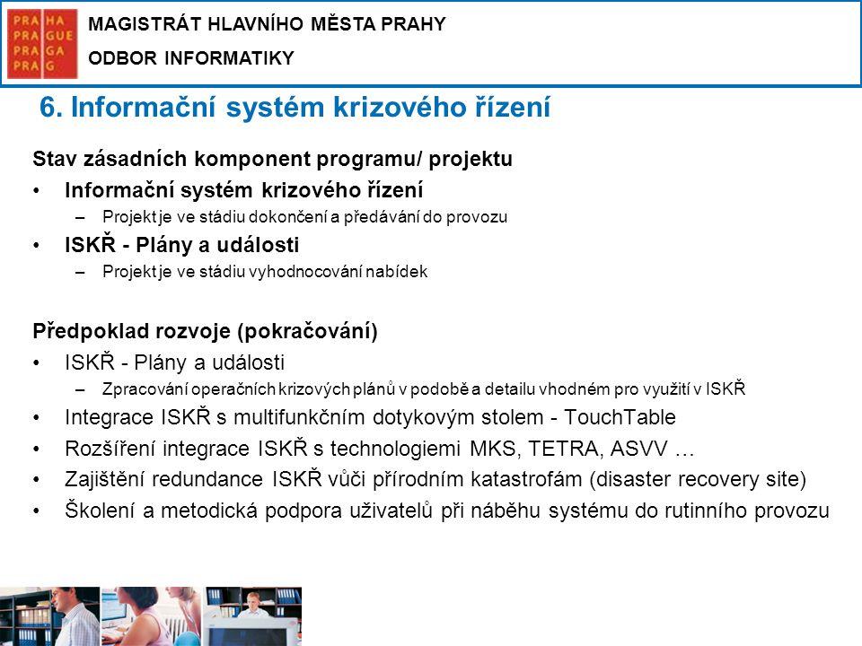 MAGISTRÁT HLAVNÍHO MĚSTA PRAHY ODBOR INFORMATIKY 6. Informační systém krizového řízení Stav zásadních komponent programu/ projektu Informační systém k