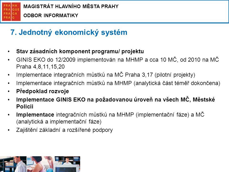 MAGISTRÁT HLAVNÍHO MĚSTA PRAHY ODBOR INFORMATIKY 7. Jednotný ekonomický systém Stav zásadních komponent programu/ projektu GINIS EKO do 12/2009 implem
