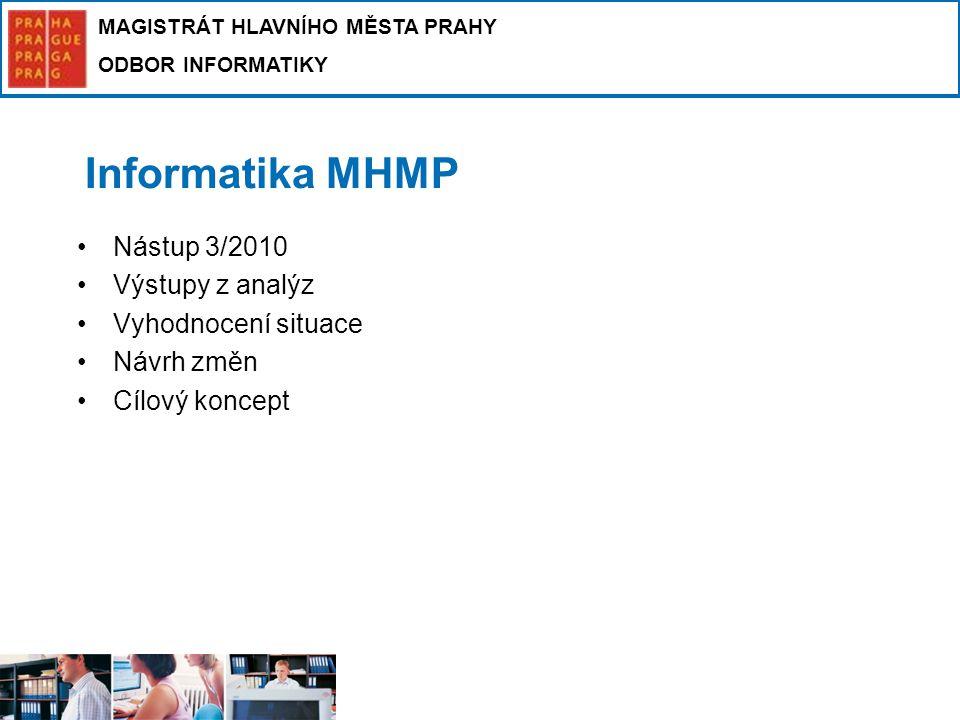 MAGISTRÁT HLAVNÍHO MĚSTA PRAHY ODBOR INFORMATIKY Informatika MHMP Nástup 3/2010 Výstupy z analýz Vyhodnocení situace Návrh změn Cílový koncept
