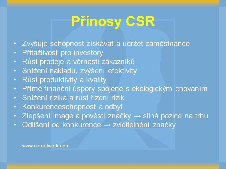 Přínosy CSR Zvyšuje schopnost získávat a udržet zaměstnance Přitažlivost pro investory Růst prodeje a věrnosti zákazníků Snížení nákladů, zvýšení efek