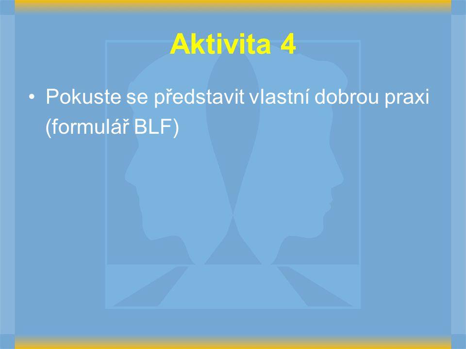 Aktivita 4 Pokuste se představit vlastní dobrou praxi (formulář BLF)
