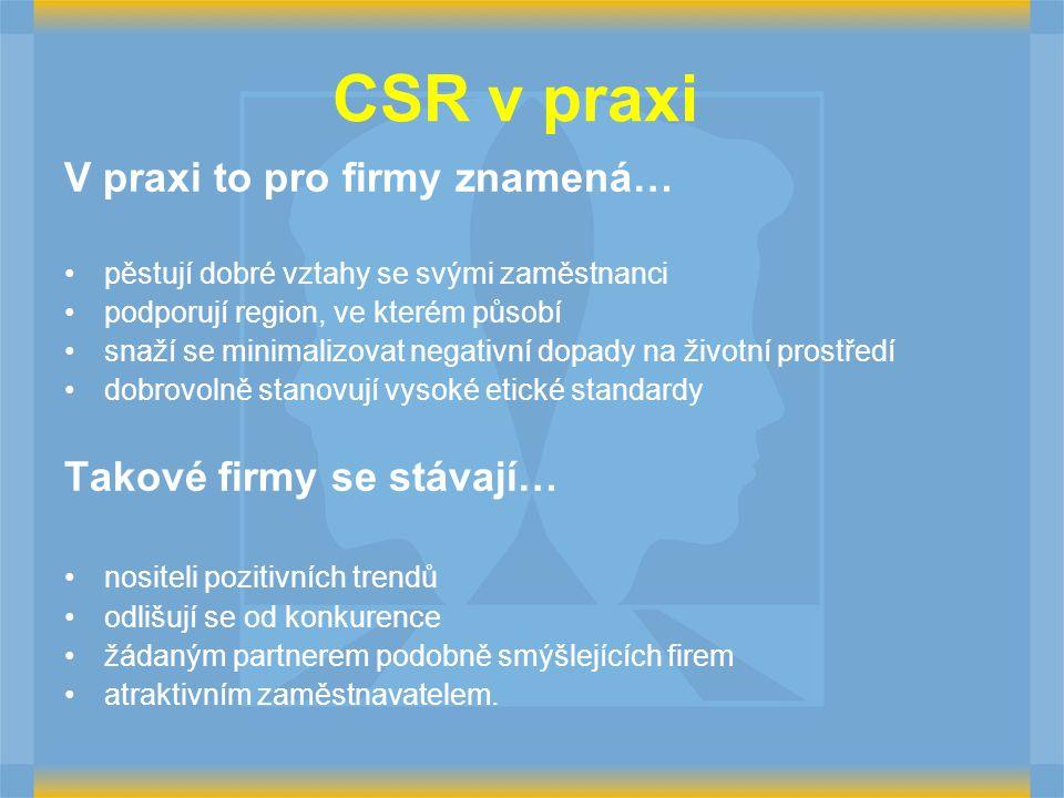 CSR v praxi V praxi to pro firmy znamená… pěstují dobré vztahy se svými zaměstnanci podporují region, ve kterém působí snaží se minimalizovat negativn