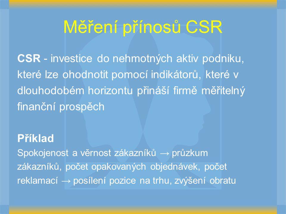 Měření přínosů CSR CSR - investice do nehmotných aktiv podniku, které lze ohodnotit pomocí indikátorů, které v dlouhodobém horizontu přináší firmě měř