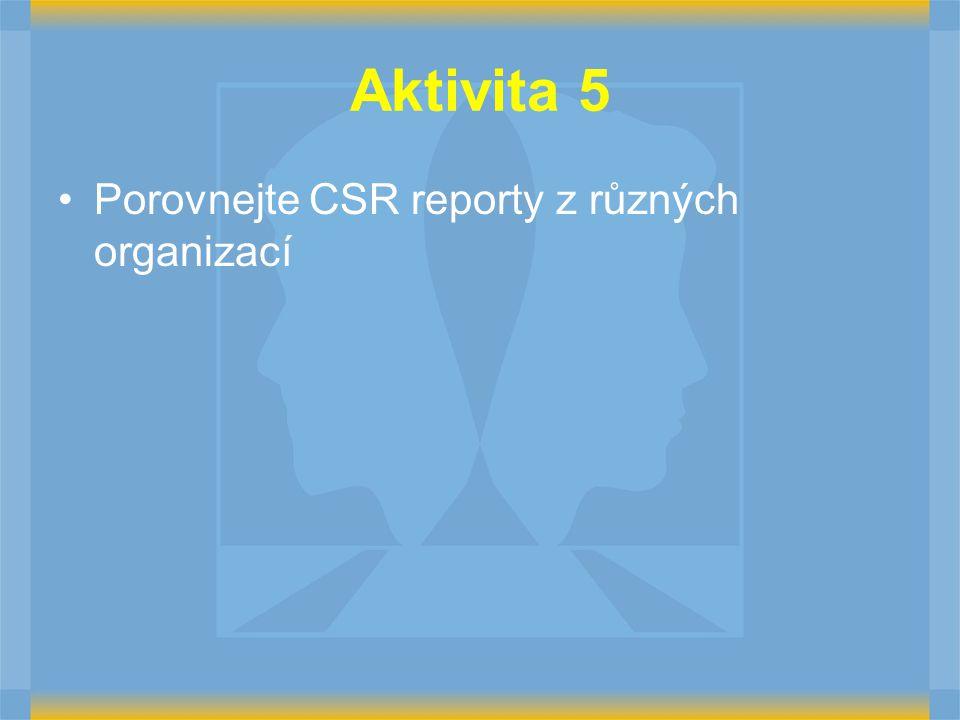 Aktivita 5 Porovnejte CSR reporty z různých organizací