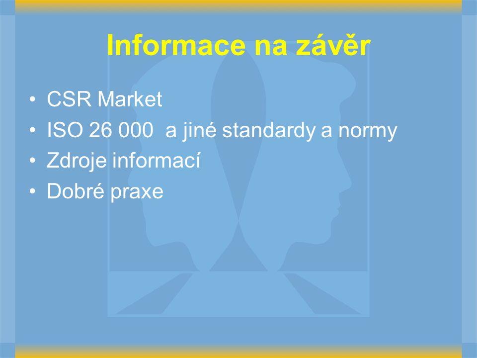 Informace na závěr CSR Market ISO 26 000 a jiné standardy a normy Zdroje informací Dobré praxe