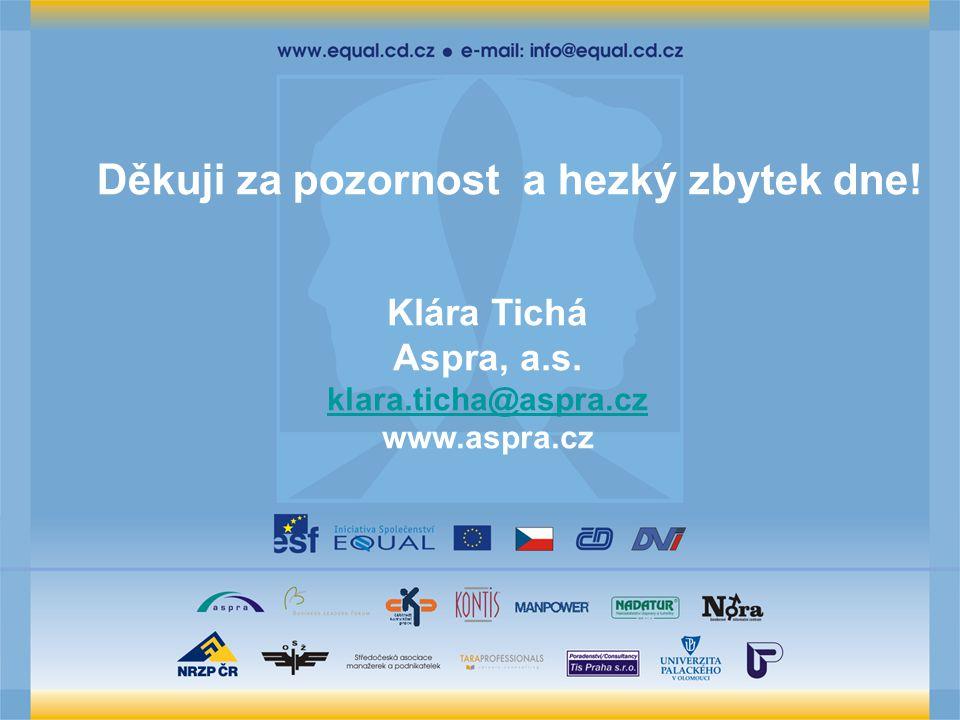 Děkuji za pozornost a hezký zbytek dne! Klára Tichá Aspra, a.s. klara.ticha@aspra.cz www.aspra.cz