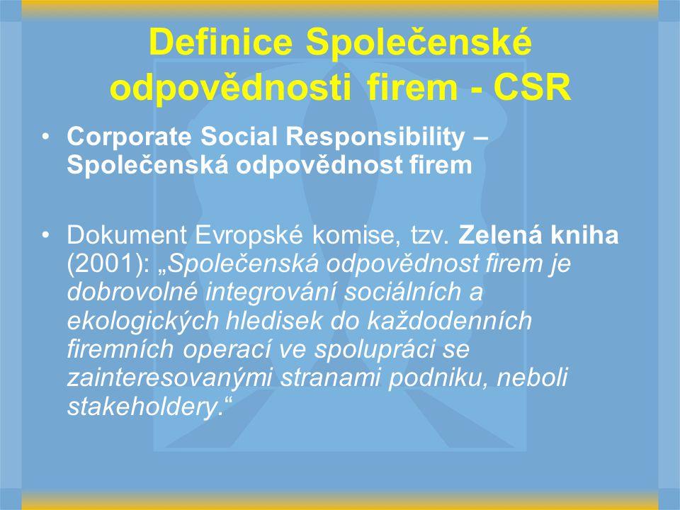 Definice Společenské odpovědnosti firem - CSR Corporate Social Responsibility – Společenská odpovědnost firem Dokument Evropské komise, tzv. Zelená kn