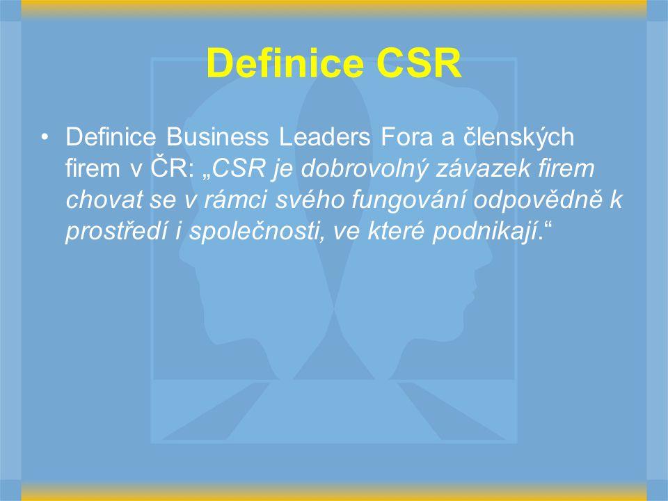 """Definice CSR Definice Business Leaders Fora a členských firem v ČR: """"CSR je dobrovolný závazek firem chovat se v rámci svého fungování odpovědně k pro"""