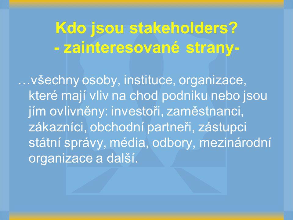 Kdo jsou stakeholders? - zainteresované strany- …všechny osoby, instituce, organizace, které mají vliv na chod podniku nebo jsou jím ovlivněny: invest