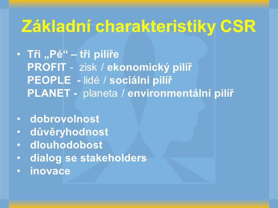 """Základní charakteristiky CSR Tři """"Pé – tři pilíře PROFIT - zisk / ekonomický pilíř PEOPLE - lidé / sociální pilíř PLANET - planeta / environmentální pilíř dobrovolnost důvěryhodnost dlouhodobost dialog se stakeholders inovace"""