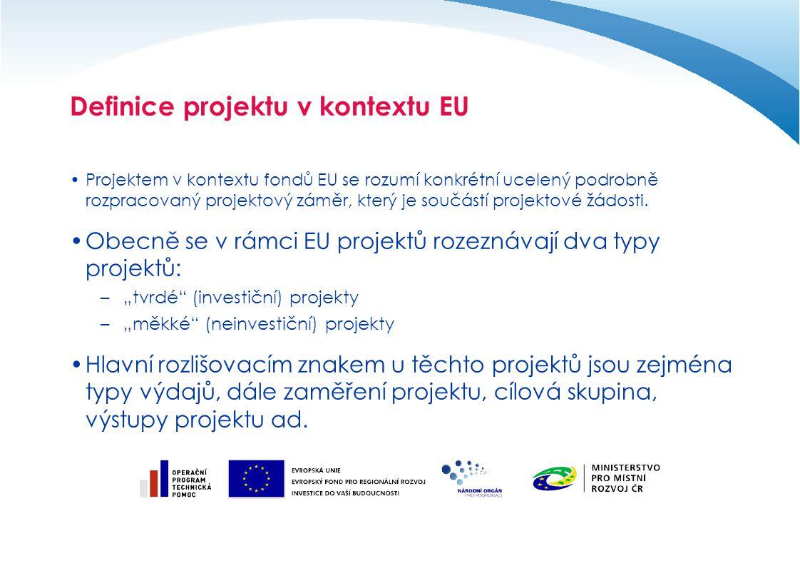 Definice projektu v kontextu EU V projektu je velmi důležité nastavit jeho nejdůležitější složky, konkrétně: –Aktivity projektu – tyto musí jednoznačně nastaveny ve vazbě na cíle projektu.