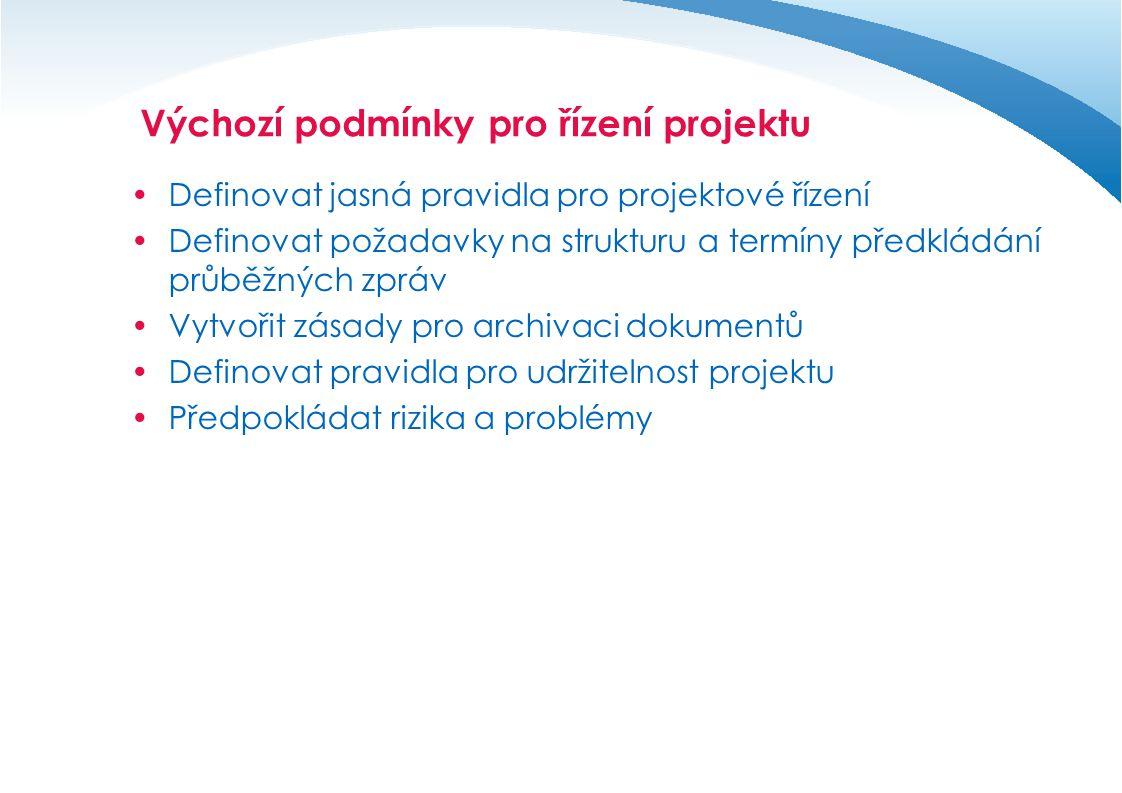 Definice a zahájení projektu  Definování logického rámce projektu  Vytvoření projektového týmu  Jmenování manažera týmu  Přidělení zdrojů k projektu  Plán řízení projektu – nastavení projektového řízení