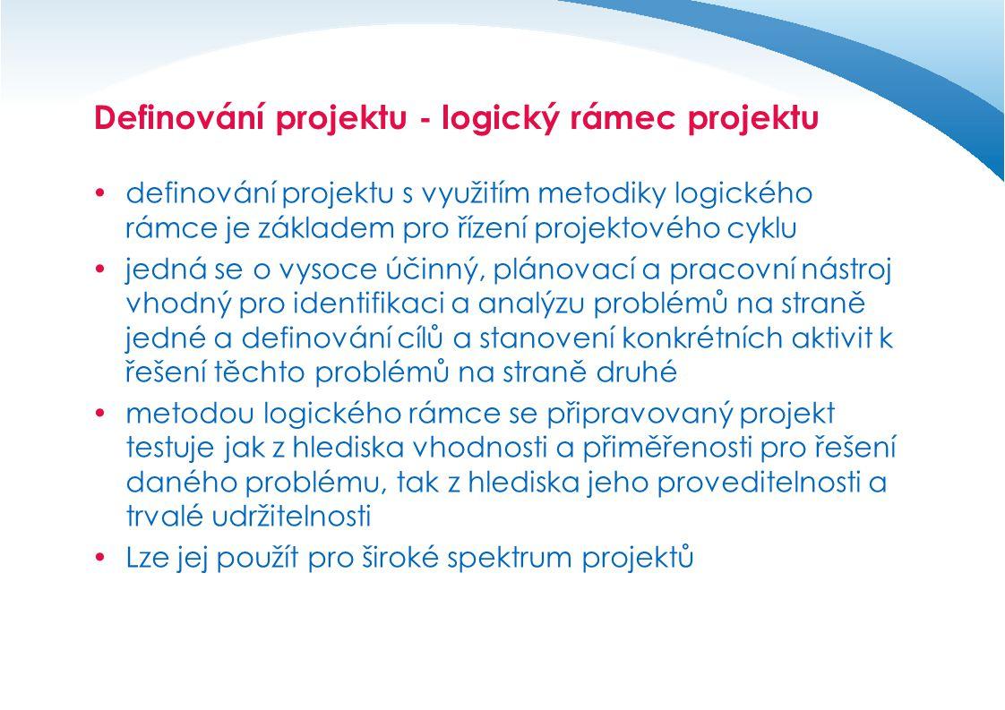 Projektový záměr a aktivity projektu  logický rámec (LR) by měl být použit pro přípravu, realizaci a vyhodnocení projektu.