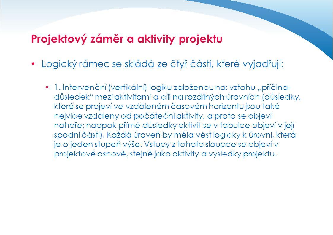 Projektový záměr a aktivity projektu  Logický rámec se skládá ze čtyř částí, které vyjadřují:  2.