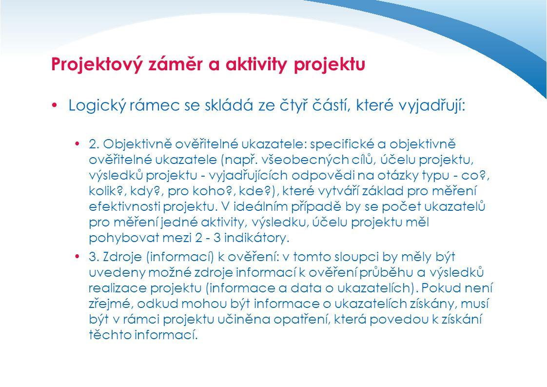 Projektový záměr a aktivity projektu  Logický rámec se skládá ze čtyř částí, které vyjadřují:  4.