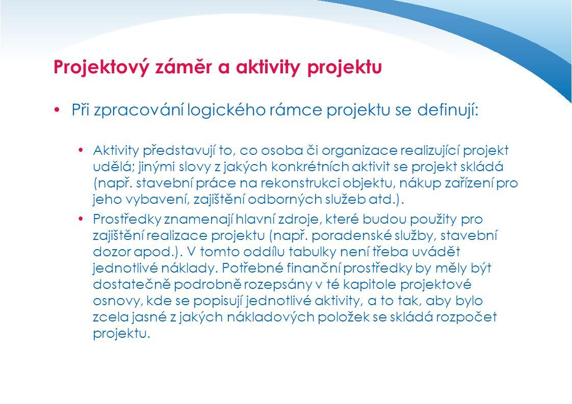 Projektový záměr a aktivity projektu  Při zpracování logického rámce projektu se definují:  Uvedené aktivity a současně splněné předpoklady, které podmiňují jejich realizaci, by měly zajistit dosažení výsledků projektu.