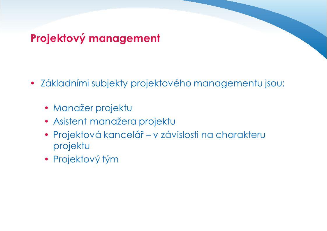 Projektový management – organizační struktura  Organizační struktura představuje síť definovaných vztahů v rámci řízení projektu.