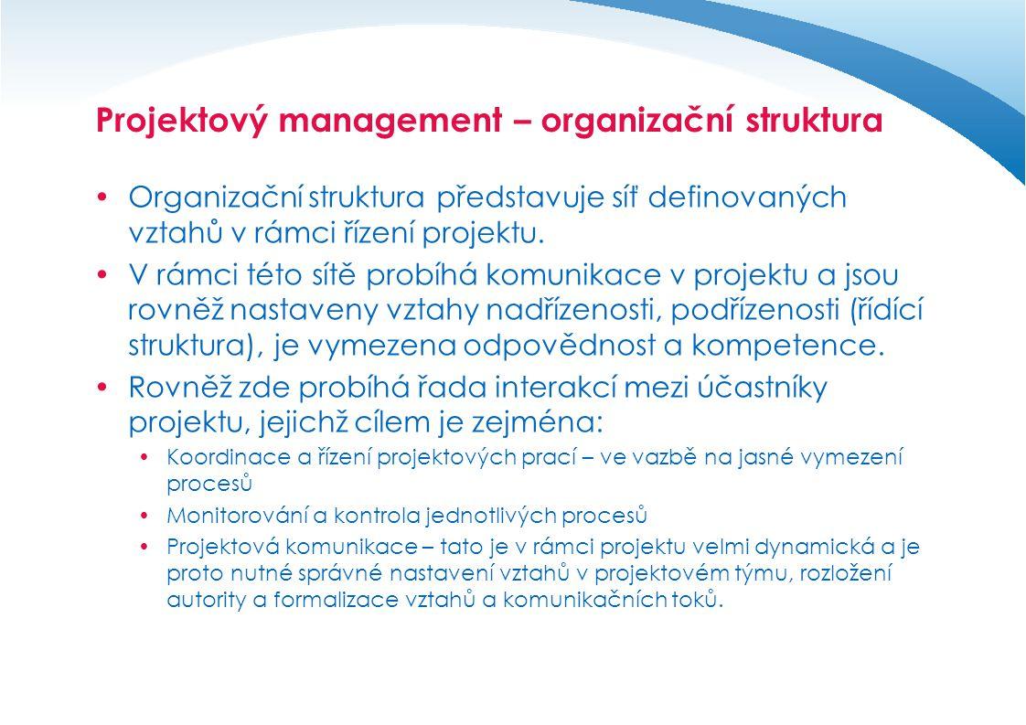 Projektový tým  Představuje základní výkonnou složku projektu.