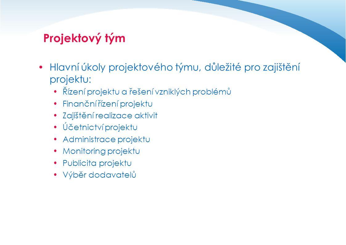 Dokumentace k projektu - zásady  Úplná a kontinuální dokumentace k projektu(jak v elektronické, tak i v papírové podobě),  Formalizovaná podoba veškeré dokumentace – Vytvoření databáze dokumentů a formulářů projektu, splňující veškeré požadavky kladené na projekt z hlediska povinné publicity i z hlediska obsahu, dle pravidel konkrétního operačního programu a zásad projektového řízení.