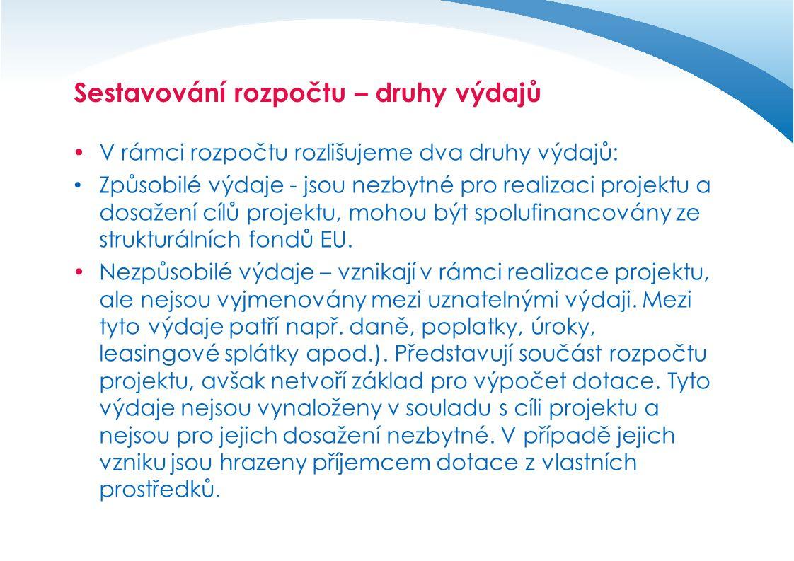 Způsobilé výdaje  jsou v souladu s příslušnými předpisy Evropské unie a ČR  odpovídají cílům, zaměření dané prioritní osy a oblasti podpory poskytovatele dotace  jsou v souladu s pravidly a podmínkami poskytovatele dotace  Naplňují princip 3E (Hospodárnost (economy), Efektivnost (effectivness), Účelnost (efficiency))