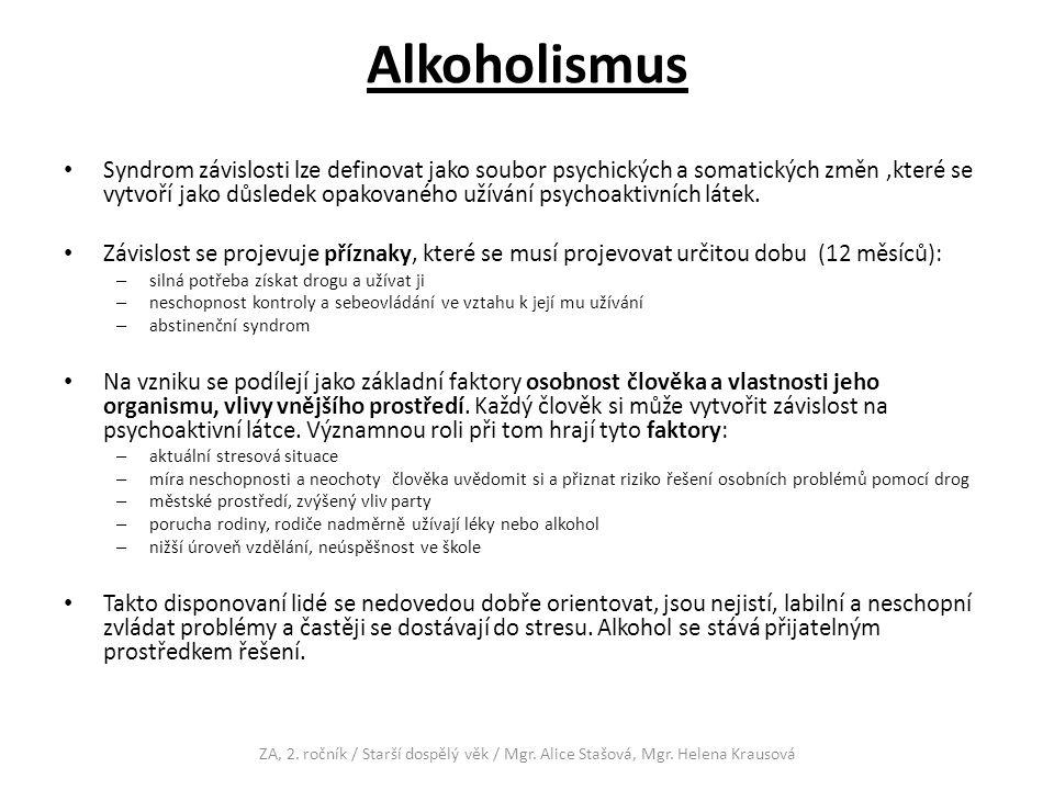 Alkoholismus Syndrom závislosti lze definovat jako soubor psychických a somatických změn,které se vytvoří jako důsledek opakovaného užívání psychoaktivních látek.