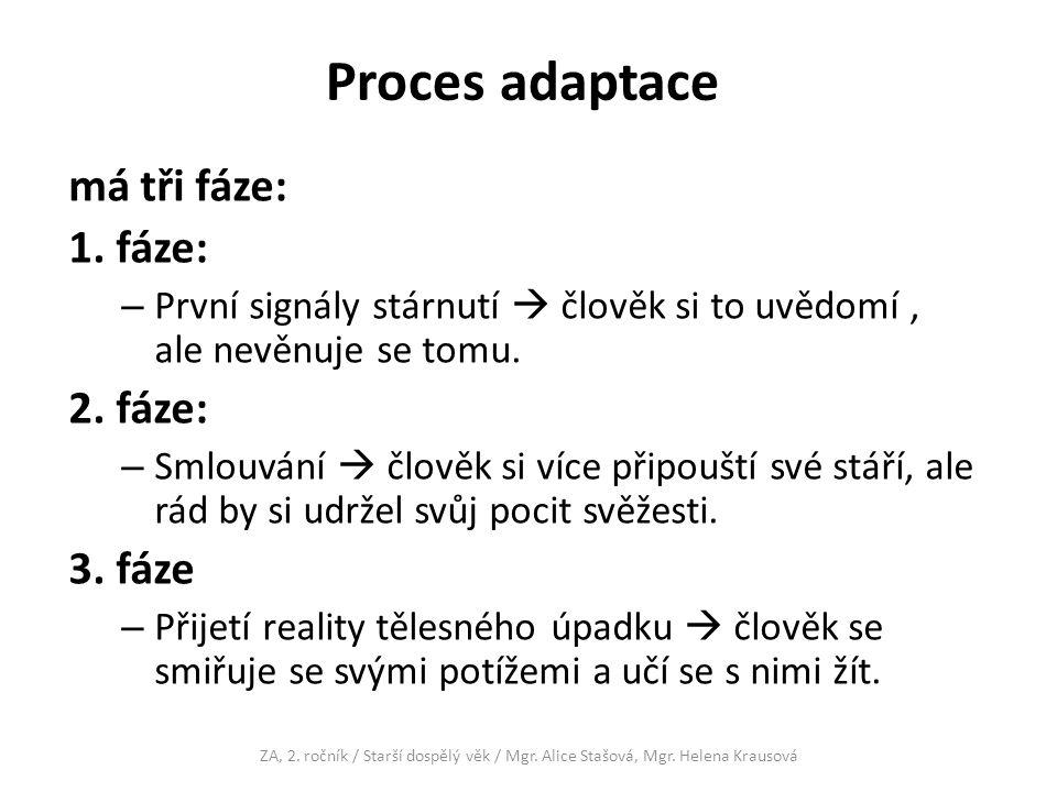 Proces adaptace má tři fáze: 1.
