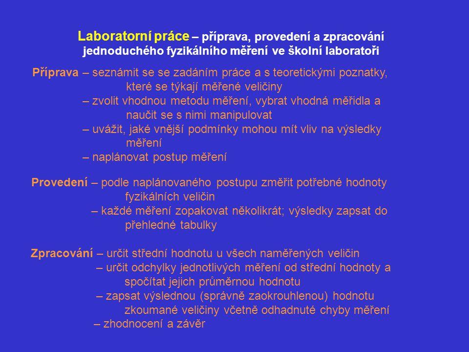 Vzorový příklad přípravy, provedení a zpracování laboratorní práce Zadání: Určete objem válcového tělesa 1.