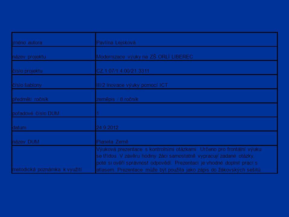 jméno autoraPavlína Lejsková název projektuModernizace výuky na ZŠ ORLÍ LIBEREC číslo projektuCZ.1.07/1.4.00/21.3311 číslo šablonyIII/2 Inovace výuky