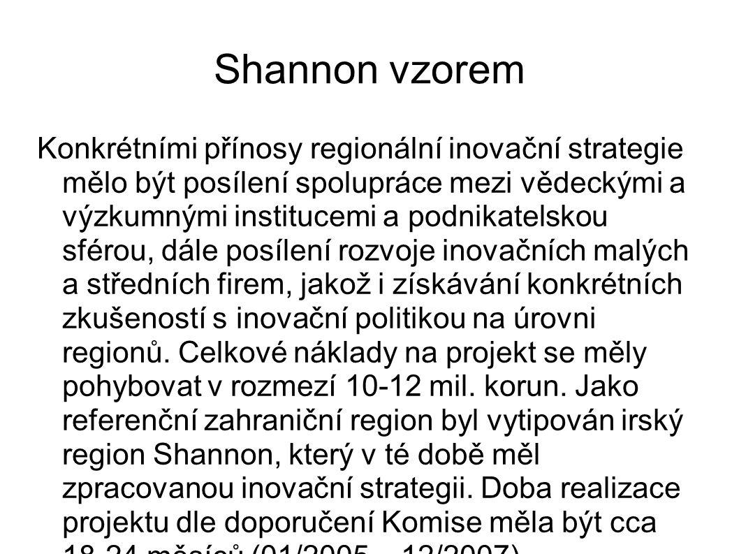 Shannon vzorem Konkrétními přínosy regionální inovační strategie mělo být posílení spolupráce mezi vědeckými a výzkumnými institucemi a podnikatelskou