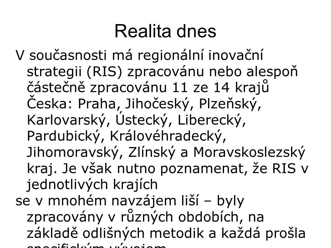 Realita dnes V současnosti má regionální inovační strategii (RIS) zpracovánu nebo alespoň částečně zpracovánu 11 ze 14 krajů Česka: Praha, Jihočeský,