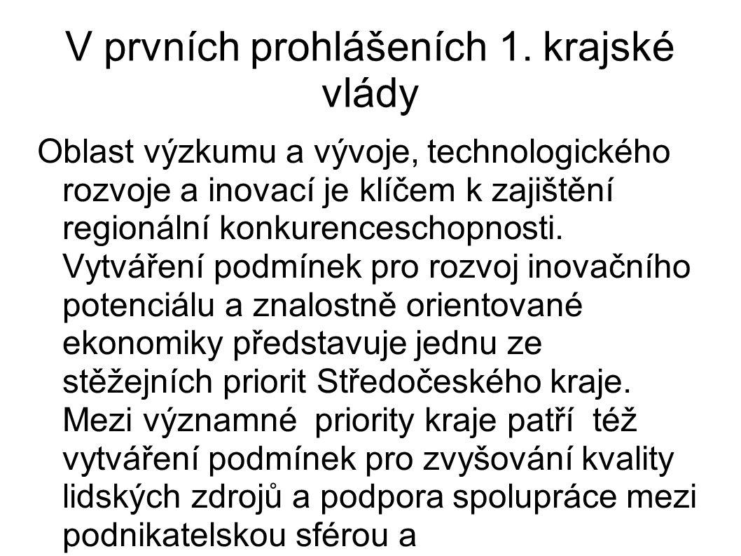 V prvních prohlášeních 1. krajské vlády Oblast výzkumu a vývoje, technologického rozvoje a inovací je klíčem k zajištění regionální konkurenceschopnos