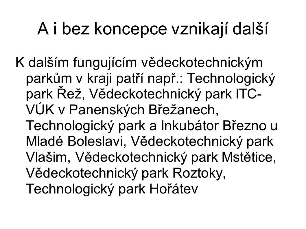 A i bez koncepce vznikají další K dalším fungujícím vědeckotechnickým parkům v kraji patří např.: Technologický park Řež, Vědeckotechnický park ITC- V