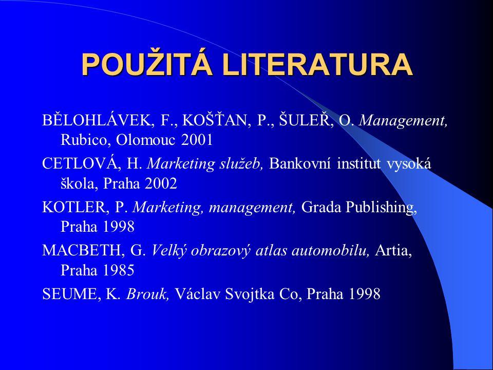 POUŽITÁ LITERATURA BĚLOHLÁVEK, F., KOŠŤAN, P., ŠULEŘ, O. Management, Rubico, Olomouc 2001 CETLOVÁ, H. Marketing služeb, Bankovní institut vysoká škola