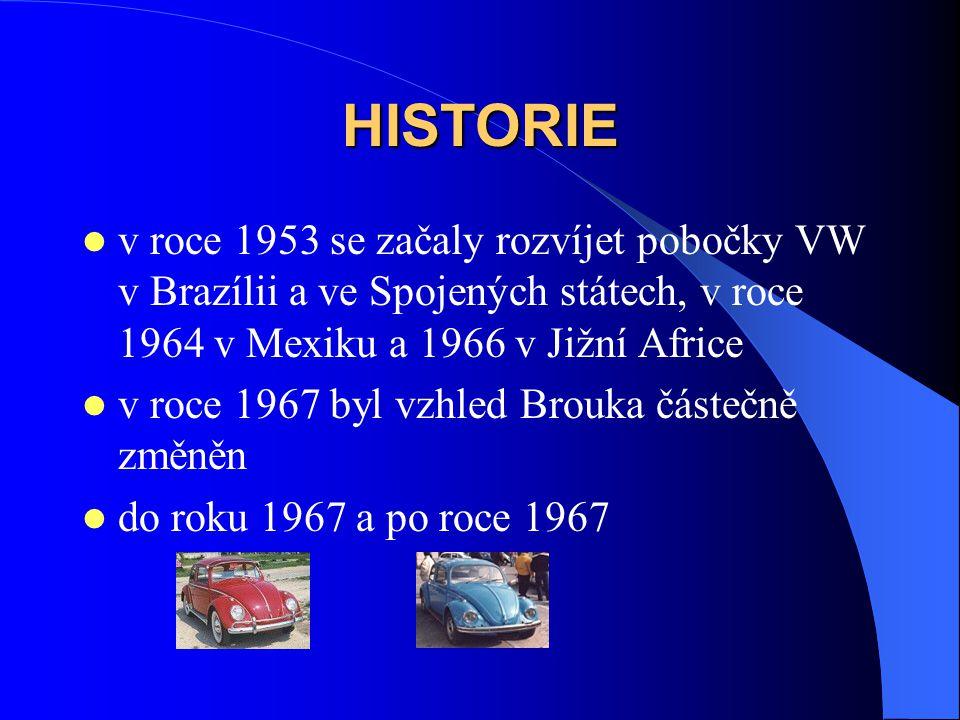 HISTORIE v roce 1953 se začaly rozvíjet pobočky VW v Brazílii a ve Spojených státech, v roce 1964 v Mexiku a 1966 v Jižní Africe v roce 1967 byl vzhle