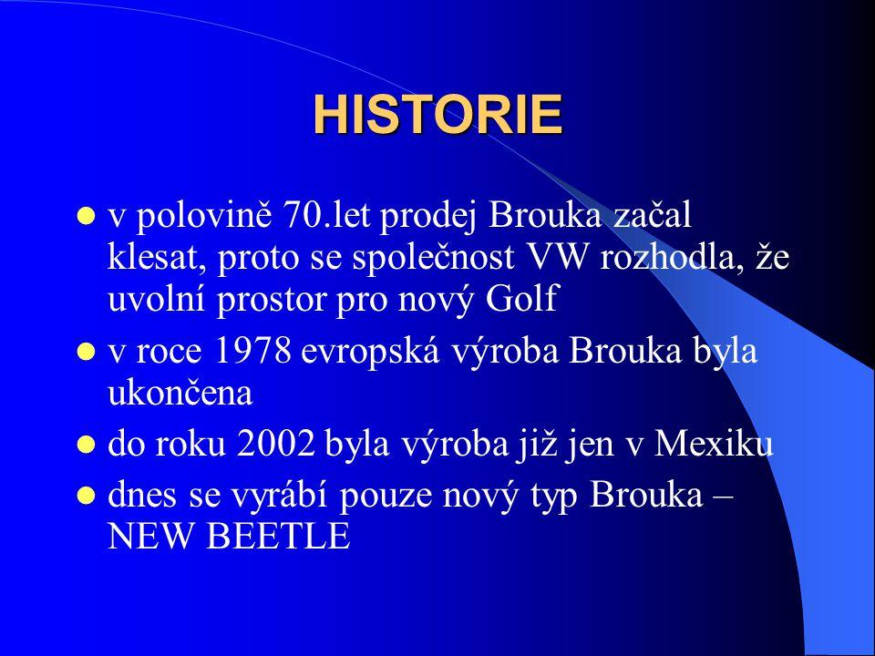 HISTORIE v polovině 70.let prodej Brouka začal klesat, proto se společnost VW rozhodla, že uvolní prostor pro nový Golf v roce 1978 evropská výroba Brouka byla ukončena do roku 2002 byla výroba již jen v Mexiku dnes se vyrábí pouze nový typ Brouka – NEW BEETLE
