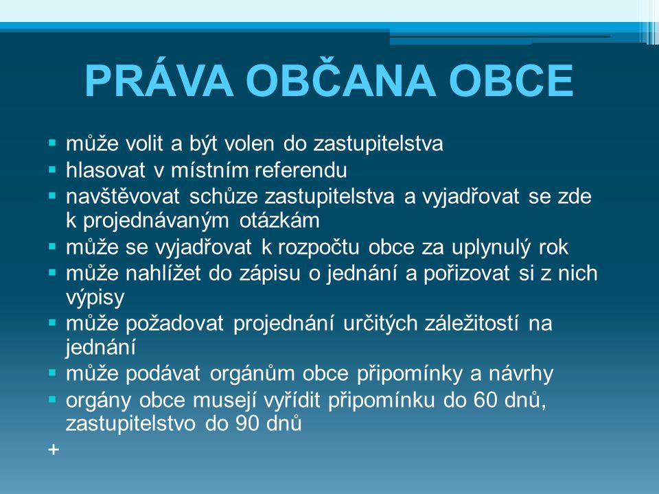 PRÁVA OBČANA OBCE  může volit a být volen do zastupitelstva  hlasovat v místním referendu  navštěvovat schůze zastupitelstva a vyjadřovat se zde k