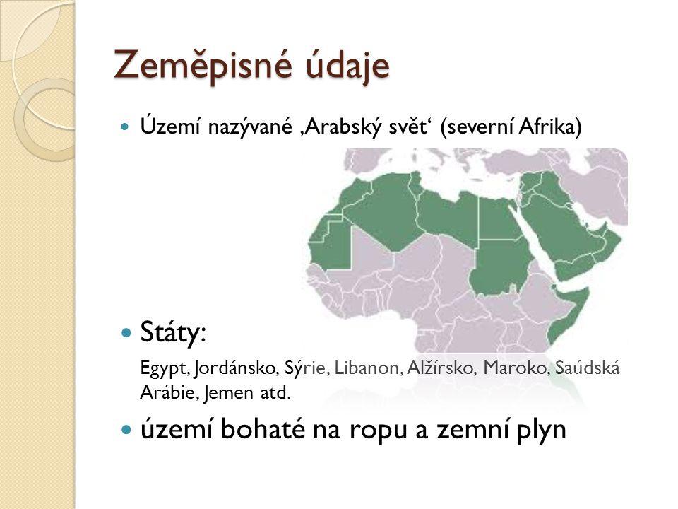 Zeměpisné údaje Území nazývané 'Arabský svět' (severní Afrika) Státy: Egypt, Jordánsko, Sýrie, Libanon, Alžírsko, Maroko, Saúdská Arábie, Jemen atd.