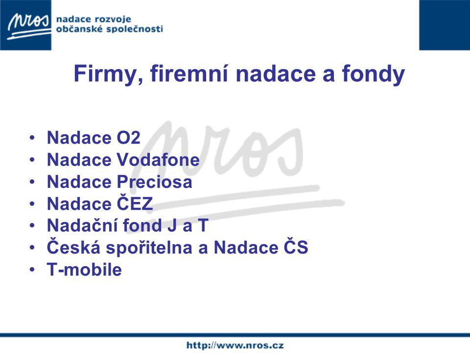 Firmy, firemní nadace a fondy Nadace O2 Nadace Vodafone Nadace Preciosa Nadace ČEZ Nadační fond J a T Česká spořitelna a Nadace ČS T-mobile