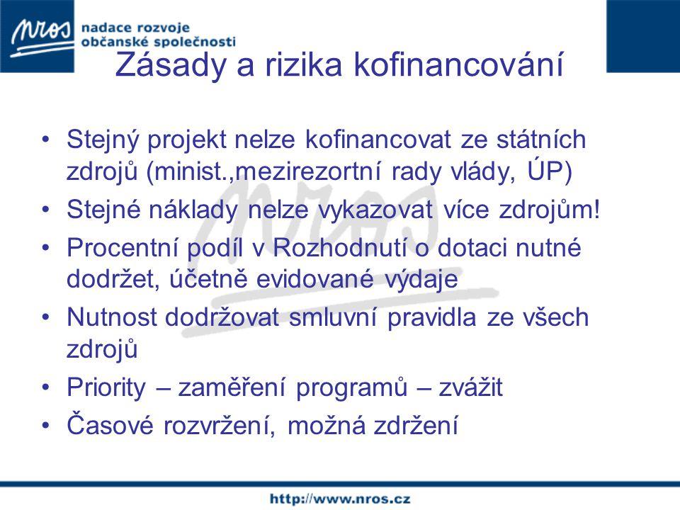 Zásady a rizika kofinancování Stejný projekt nelze kofinancovat ze státních zdrojů (minist.,mezirezortní rady vlády, ÚP) Stejné náklady nelze vykazovat více zdrojům.