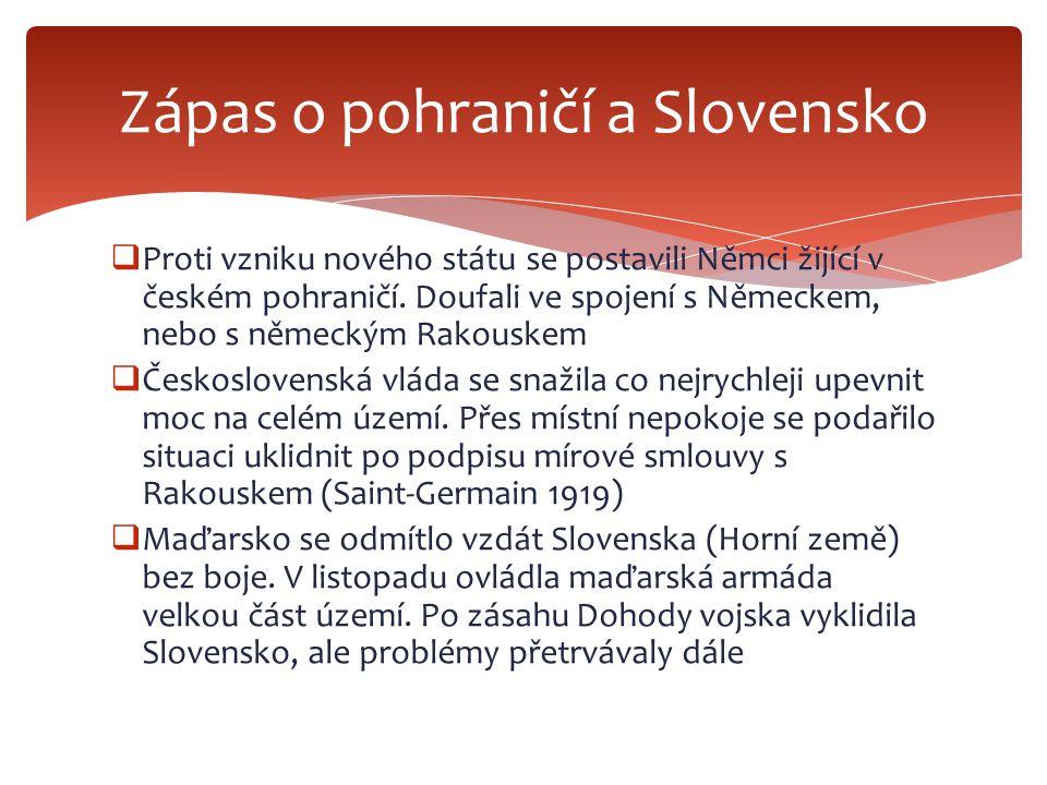  Ústava schválena 1920.Československo republikou v čele s voleným prezidentem (věk alespoň 30 let, funkční období 7 let) Zákony vydávalo Národní shromáždění, které se skládalo ze 2 komor: poslanecké sněmovny (300 členů) a senátu (150 členů) Volební právo všeobecné, rovné a přímé.