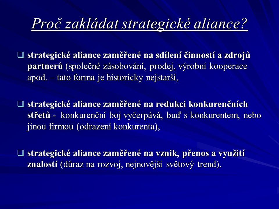 Proč zakládat strategické aliance.