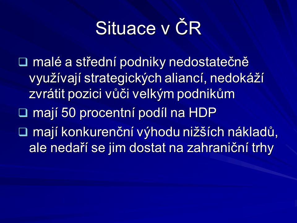 Situace v ČR  malé a střední podniky nedostatečně využívají strategických aliancí, nedokáží zvrátit pozici vůči velkým podnikům  mají 50 procentní podíl na HDP  mají konkurenční výhodu nižších nákladů, ale nedaří se jim dostat na zahraniční trhy