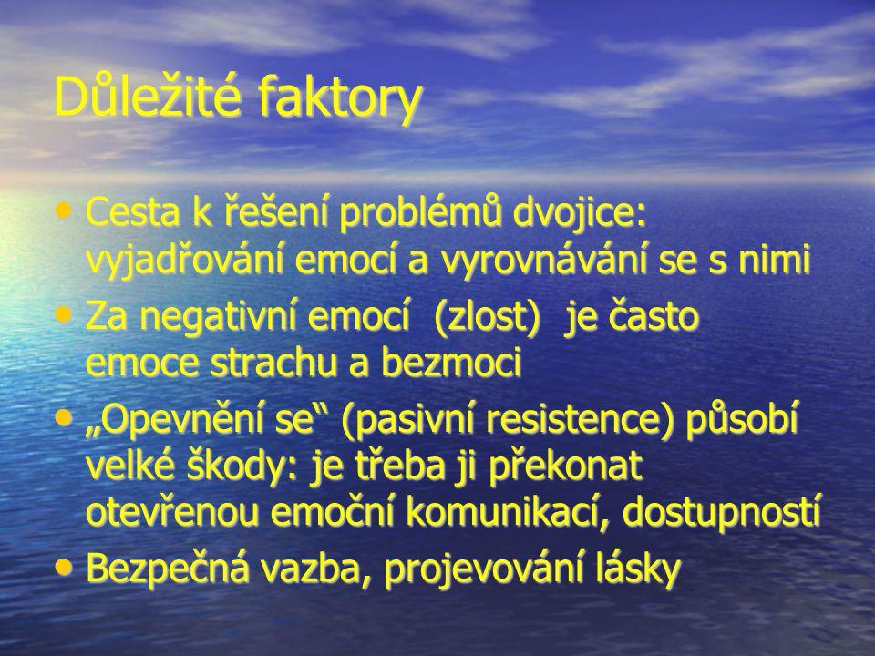 """Důležité faktory Cesta k řešení problémů dvojice: vyjadřování emocí a vyrovnávání se s nimi Cesta k řešení problémů dvojice: vyjadřování emocí a vyrovnávání se s nimi Za negativní emocí (zlost) je často emoce strachu a bezmoci Za negativní emocí (zlost) je často emoce strachu a bezmoci """"Opevnění se (pasivní resistence) působí velké škody: je třeba ji překonat otevřenou emoční komunikací, dostupností """"Opevnění se (pasivní resistence) působí velké škody: je třeba ji překonat otevřenou emoční komunikací, dostupností Bezpečná vazba, projevování lásky Bezpečná vazba, projevování lásky"""
