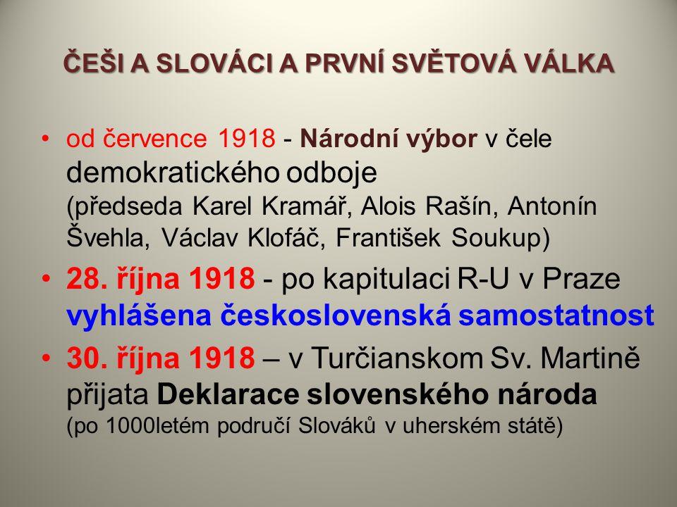ČEŠI A SLOVÁCI A PRVNÍ SVĚTOVÁ VÁLKA od července 1918 - Národní výbor v čele demokratického odboje (předseda Karel Kramář, Alois Rašín, Antonín Švehla