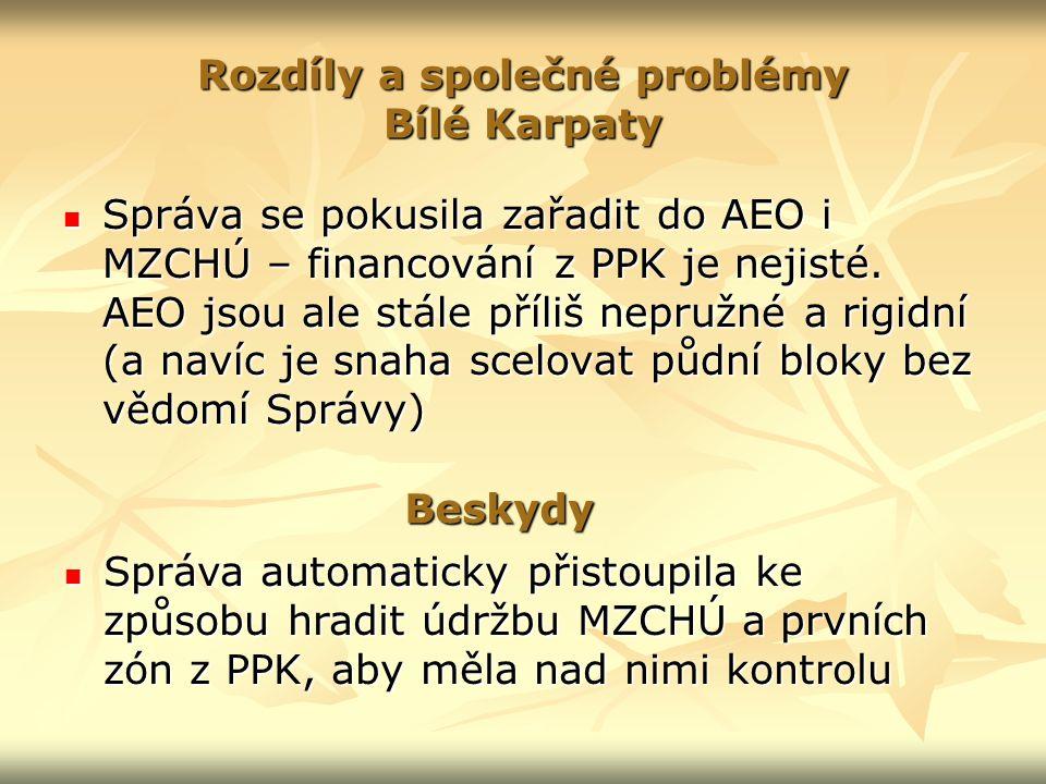 Rozdíly a společné problémy Bílé Karpaty Správa se pokusila zařadit do AEO i MZCHÚ – financování z PPK je nejisté.