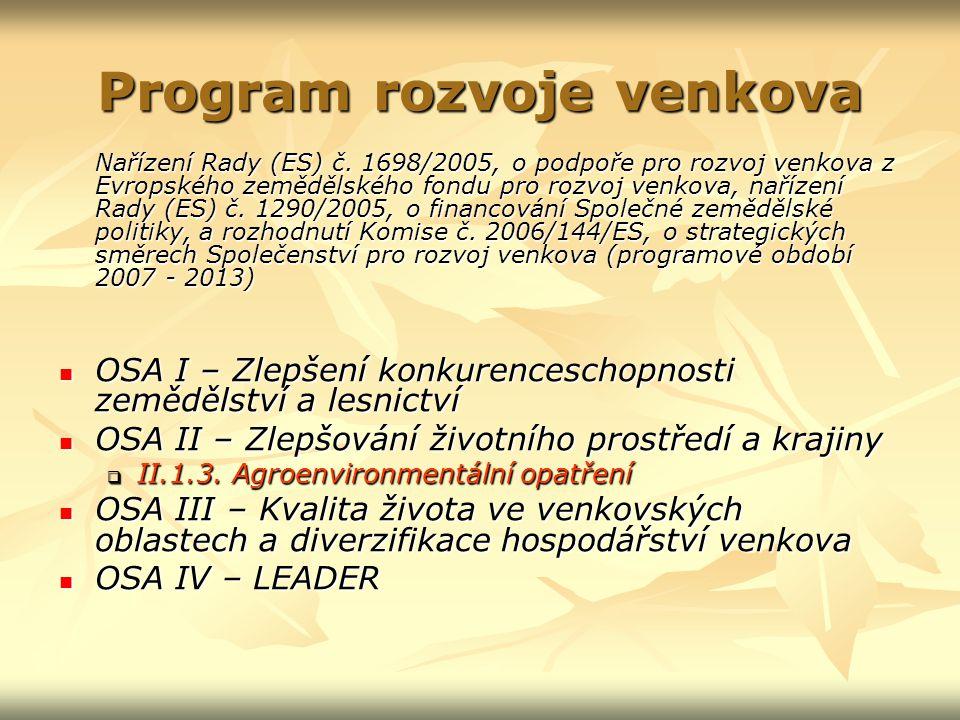 Program rozvoje venkova Nařízení Rady (ES) č.
