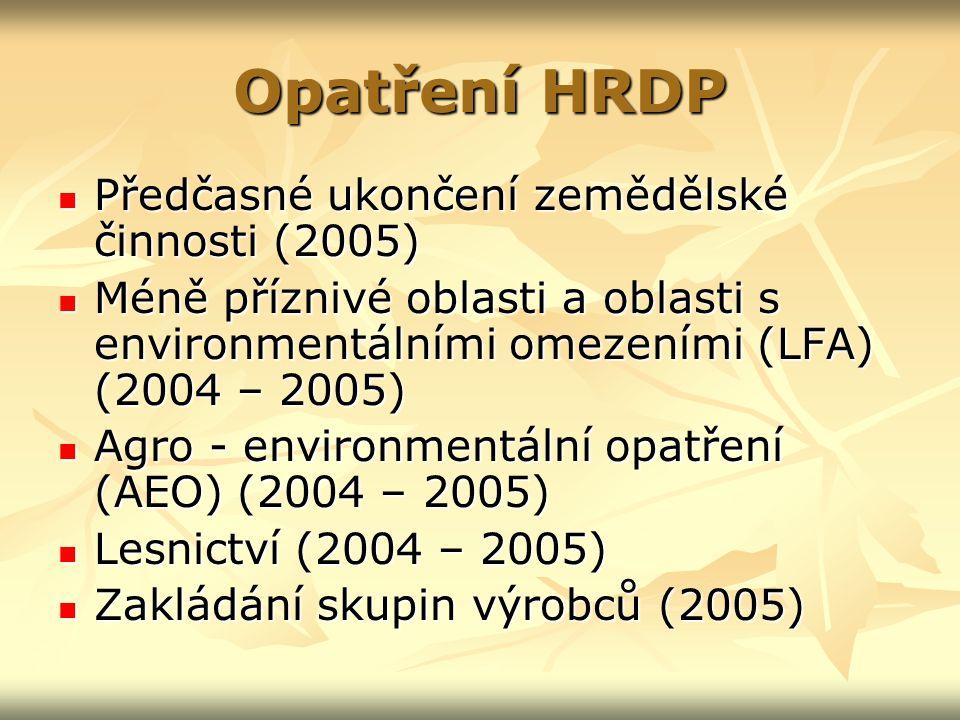 Opatření HRDP Předčasné ukončení zemědělské činnosti (2005) Předčasné ukončení zemědělské činnosti (2005) Méně příznivé oblasti a oblasti s environmentálními omezeními (LFA) (2004 – 2005) Méně příznivé oblasti a oblasti s environmentálními omezeními (LFA) (2004 – 2005) Agro - environmentální opatření (AEO) (2004 – 2005) Agro - environmentální opatření (AEO) (2004 – 2005) Lesnictví (2004 – 2005) Lesnictví (2004 – 2005) Zakládání skupin výrobců (2005) Zakládání skupin výrobců (2005)